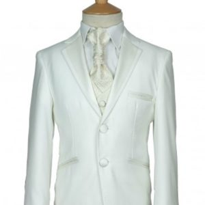 cefai Ivory Piping Communion Suit