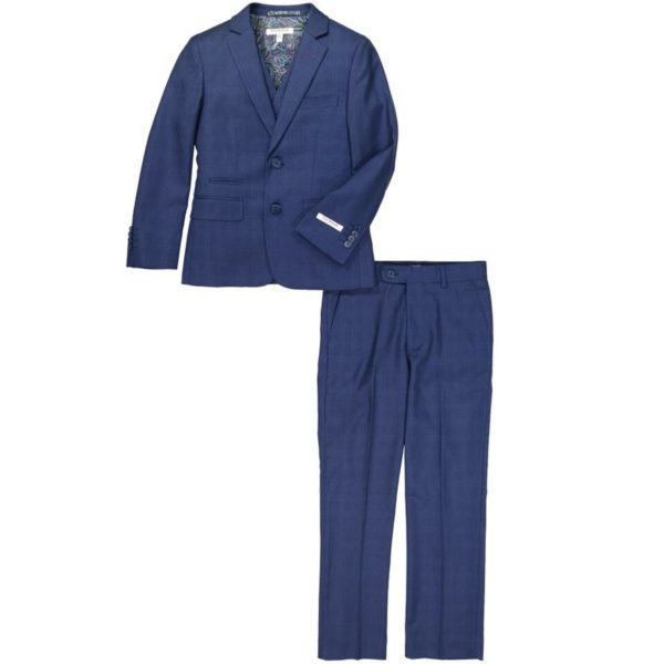 cefai Navy Checked 3 pc Suit