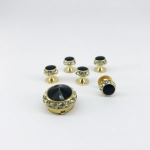 cefai cufflinks 6 black gold stone cover button